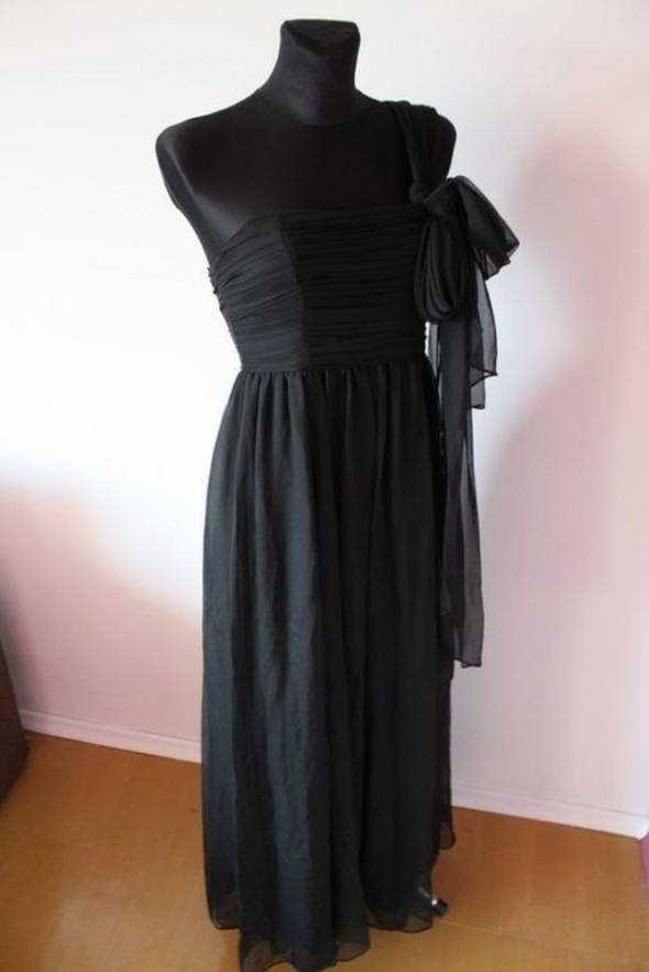 Suknie i sukienki DŁUGA CZARNA SUKIENKA MAXI WIECZOROWA