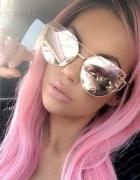 Okulary damskie lustrzanki kocie oczy różowe gold