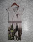 Novello nowa elegancka ołówkowa sukienka beż print obraz 40 L...
