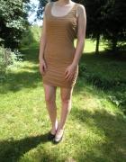 Amisu New Yorker karmelowa sukienka mini marszczona carmel 38 M...