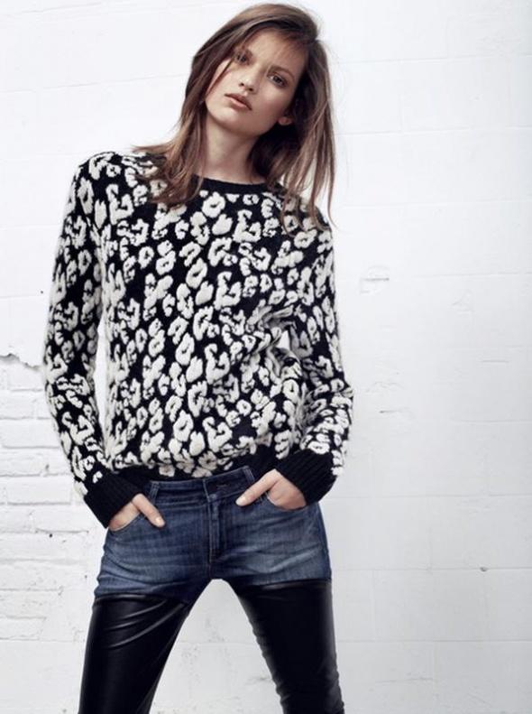 Sweter z grubej dzianiny w cętki MANGO