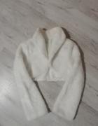 Bolerko ślubne białe futerko zimowe S 36...