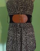 Sukienka w panterkę bombka pasek S M...