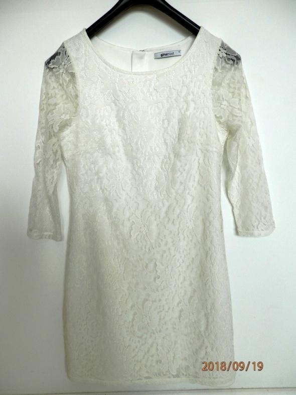 Suknie i sukienki Sukienka Biała Koronkowa Dopasowana Ołówkowa Imprezowa Wieczorowa S