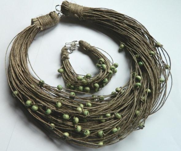 Len i koraliki ekologiczny zestaw biżuterii...