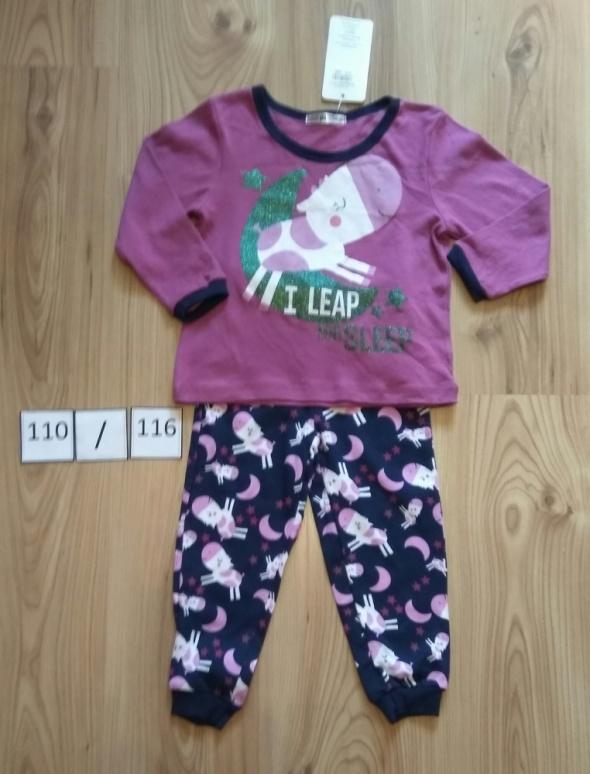 Nowa dziewczęca piżama bluzka z długim rękawem spodnie krówką 110 116