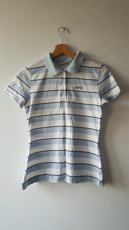 Koszulka polo w pasy bialo niebieskie L