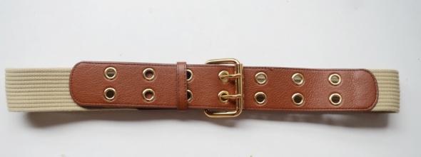 Pasek H&M L Brązowy Beżowy Złote Elementy 104 cm...