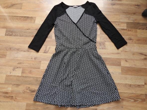 Suknie i sukienki czarna sukienka dzianinowa Orsay wzorki