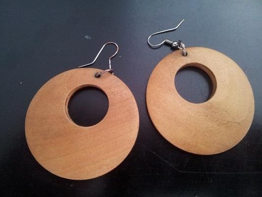 drewniane kolczyki koła jasne