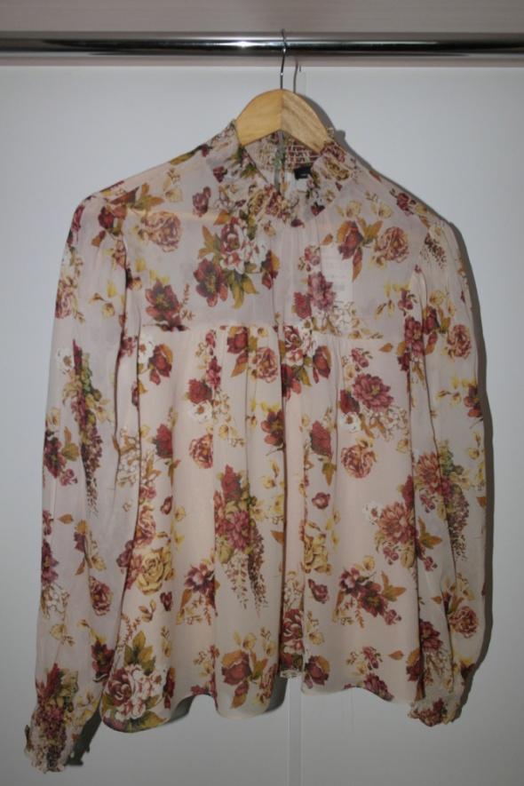 Bluzki Zara Basic szyfonowa bluzka w róże nowa z metką L