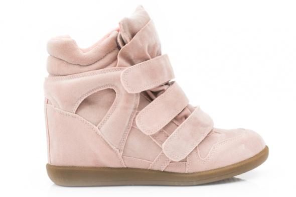 Sportowe Różowe sneakersy z rzepami na koturnie 41