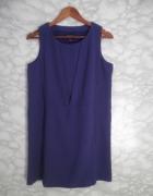 Mango elegancka prosta sukienka oversize granat fiolet 38 M...