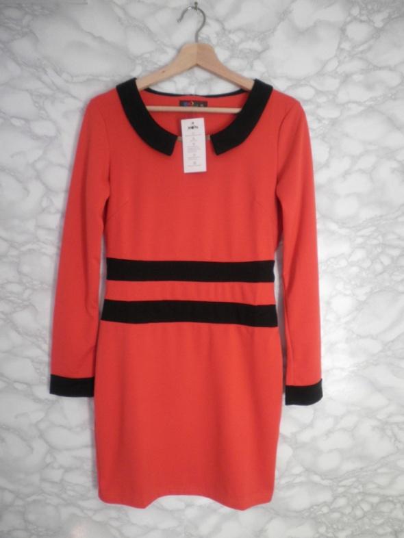 Nowa ruda pomarańczowa sukienka ołówkowa kołnierzyk wyszczuplająca XL