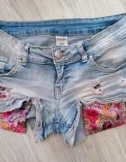 Jeansowe szorty krótkie kolorowe kieszenie przetarcia...