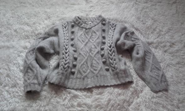 Sweter szary M warkocz h&m...