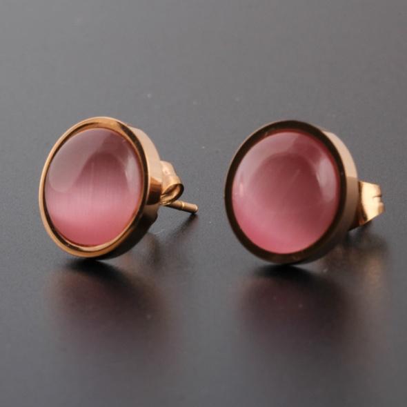 Nowe kolczyki różowe złoty kiolor złoto małe eleganckie sztyfty...