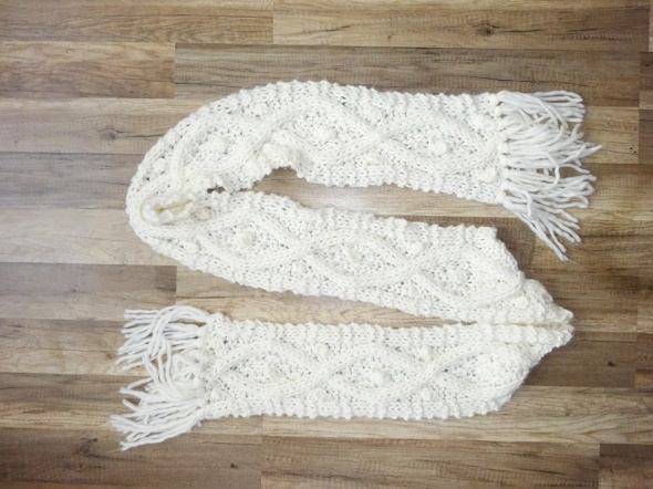 Szaliki i szale Dorothy Perkins ciepły biały wełniany szal szalik wełna