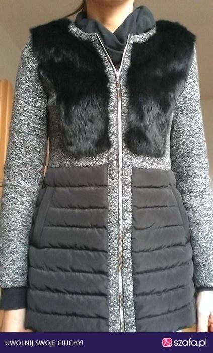 cudny modny Melanżowy pikowany płaszczyk z futerkiem Attentif M 38
