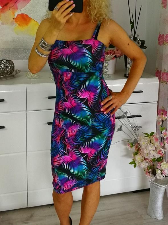 Suknie i sukienki sukienka kolorowe liście