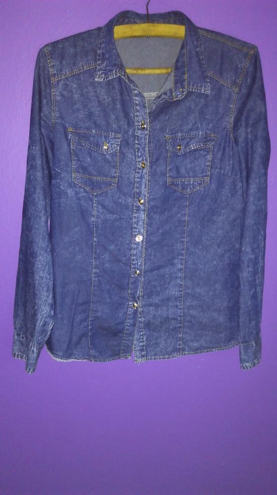 Koszula jeansowa marmurkowa S M
