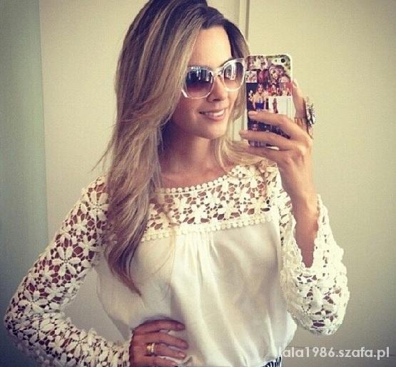 Delikatna bluzeczka koronkowe rękawy biała