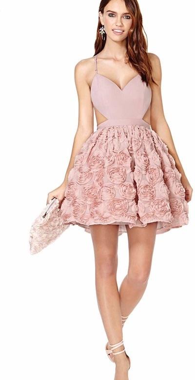 Nowość 2016 wesele sukienka róże 3d pudrowy róż