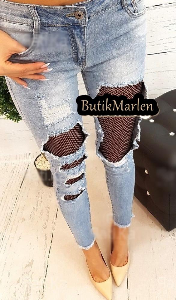 Spodnie Spodnie jeans dziury przetarcia z kabaretką