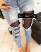 Spodnie jeans dziury przetarcia z kabaretką...