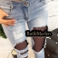 Spodnie jeans dziury przetarcia z kabaretką