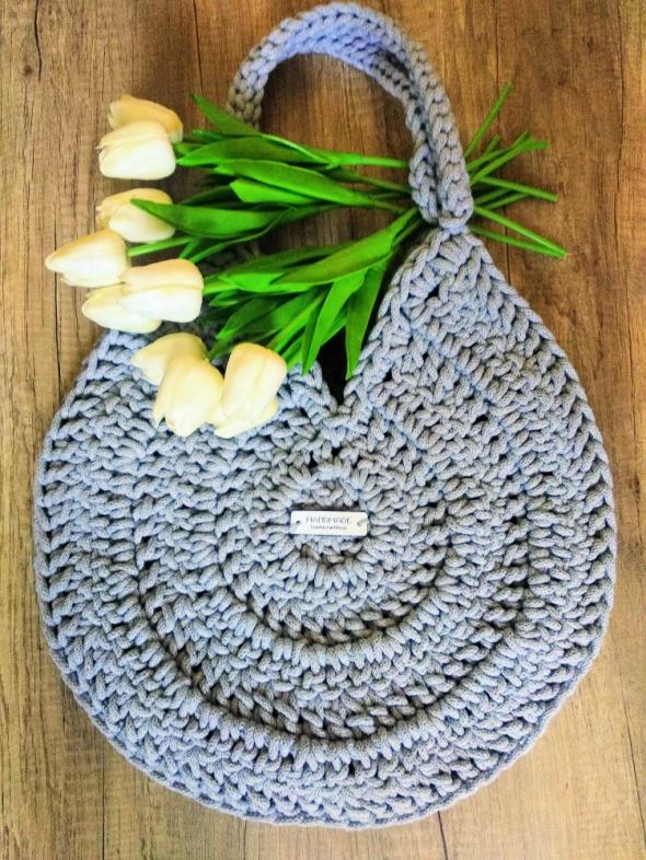 Torba Greyka na ramię handmade rękodzieło sznurek szara pizza bag