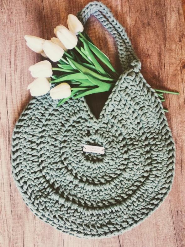 Torba Salvia na ramię handmade rękodzieło sznurek zielona szałw...