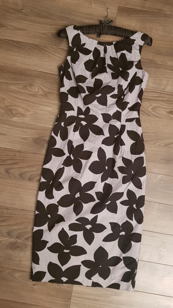 Sukienka SIMPLE r 34 kwiaty elegancka szara klasyk