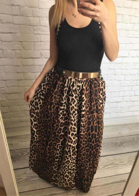 Spódnice długa panterkowa spódnica mega