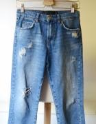 Spodenki Rybaczki Jeans Dziury Never Denim XS 34 Przetarcia...