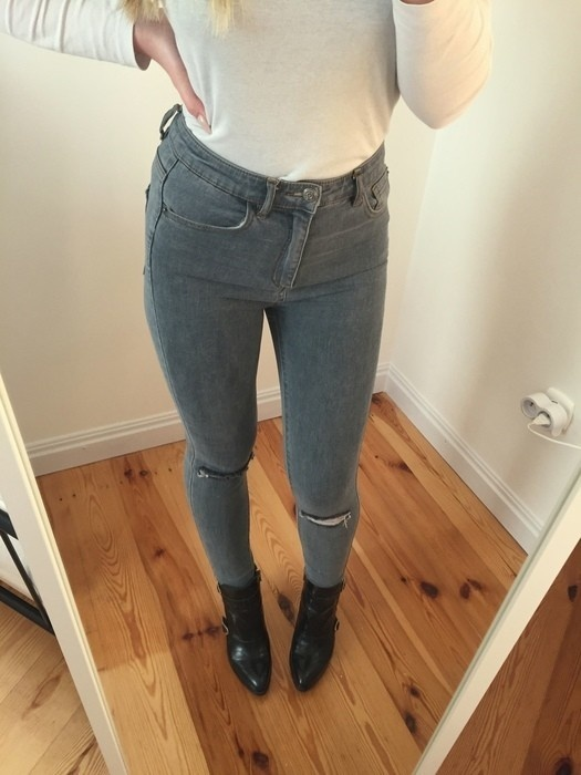 Jeansy Pull&Bear szare must have S tumblr insta high waist...