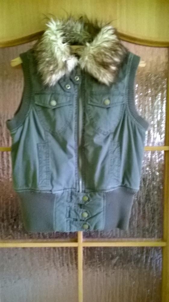 Kamizelki Kamizelka ocieplacz z futerkiem khaki M L XL