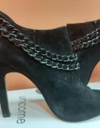 Czarne botki szpilki open toe 5th Avenue 39...