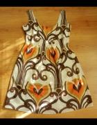 Kolorowa tunika sukienka we wzory bawełna Influenc...