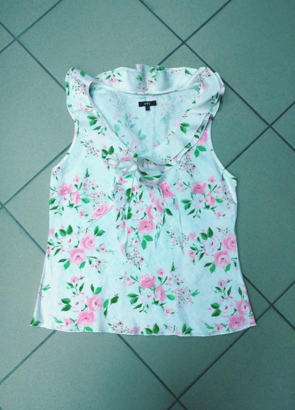 Bluzka kwiaty len lniana żabot Marks&Spencer 40...