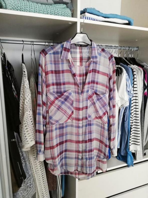 Koszule ZARA cienka koszula w kratę oversize