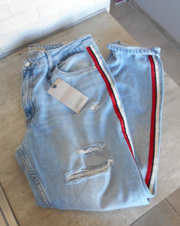 Spodnie Zara nowe jeansy boyfriend paski z boku destroyed