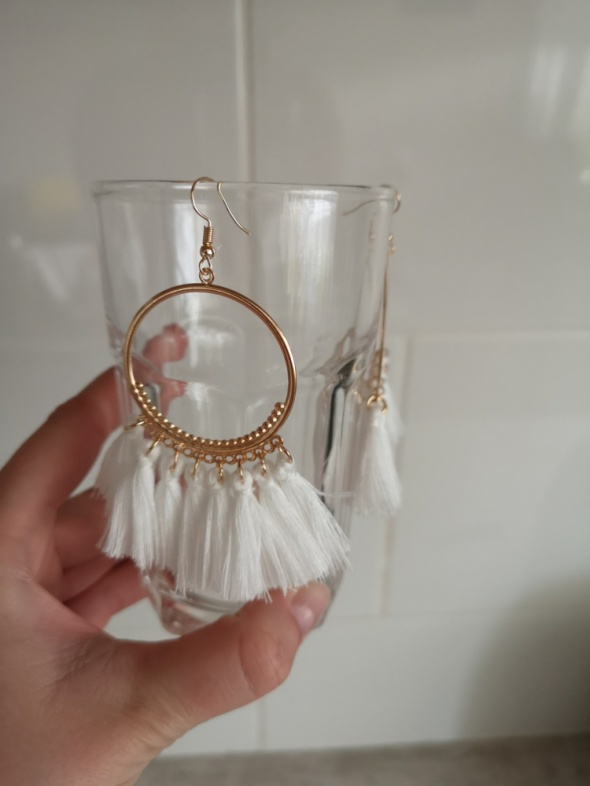 kolczyki białe boho wesele frędzle nude wiszące glamour gypsy retro vintage