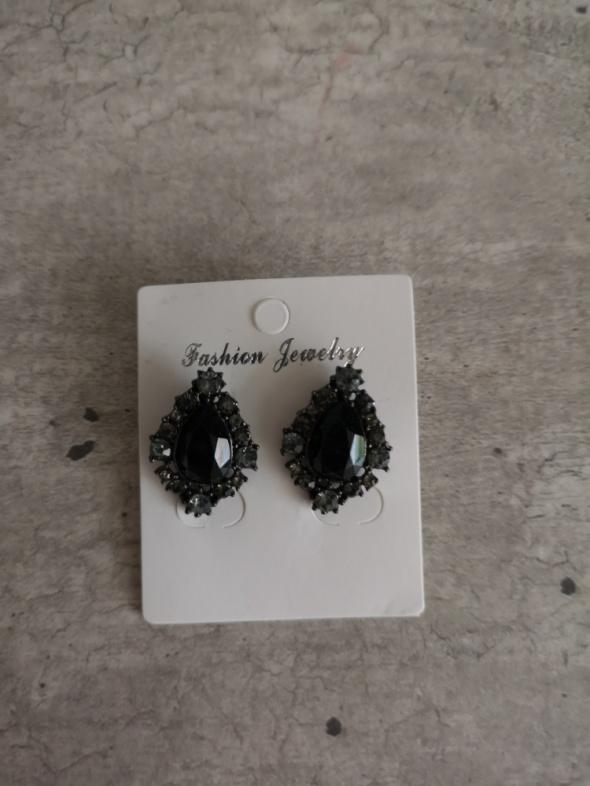 kolczyki czarne kryształki boho wesele eleganckie glamour
