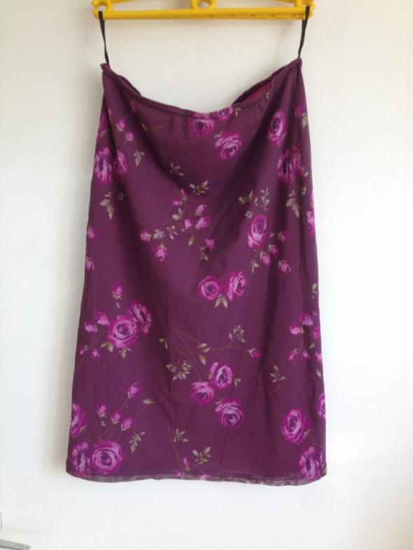 Długa spódnica w kwiaty midi maxi fioletowa różowe