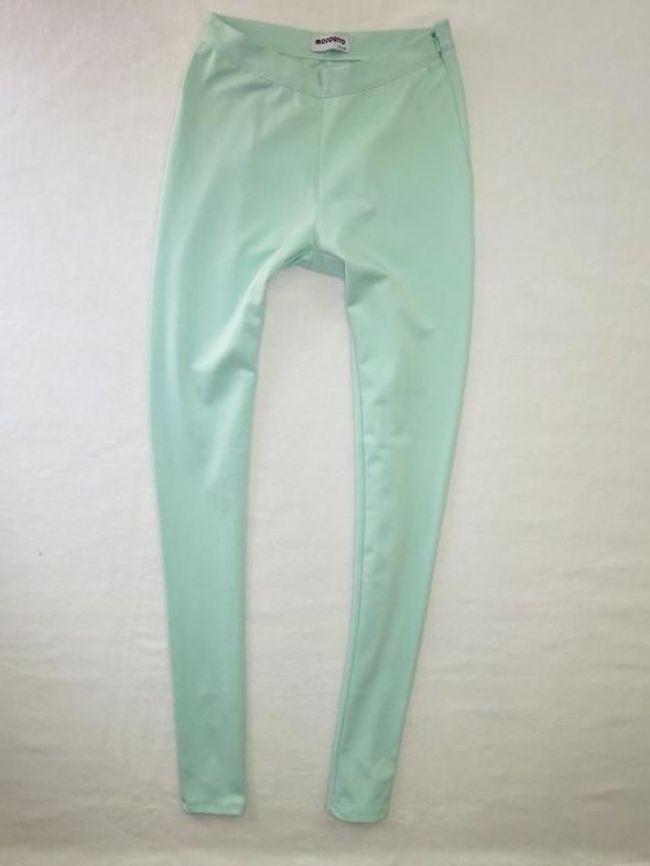 MOSQUITO miętowe spodnie rurki legginsy tregginsy 36 S