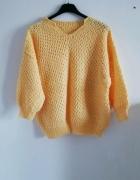 Sweter ażur żółty musztarda...