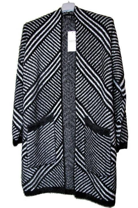 Swetry sweter kardigan Reserved oversize 36 S jodełka prążki kieszenie