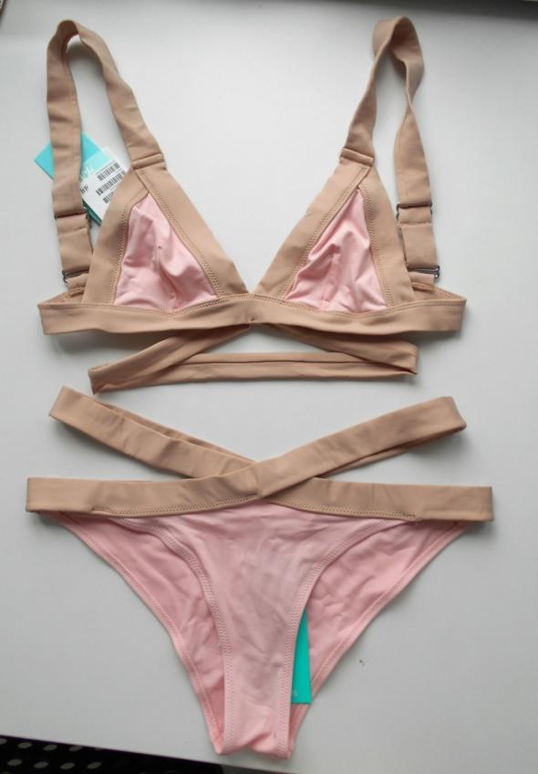 HM nowe bandażowe bikini pudrowe beżowe nude