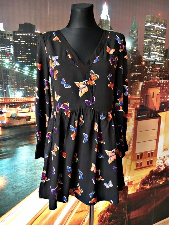oasis sukienka rozkloszowana motyle motylki zip 38 36